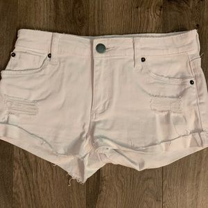 STS Blue: White ripped Jean shorts